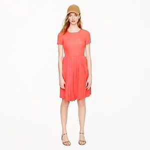 J. Crew Coral Pleated Short Sleeve Silk Dress